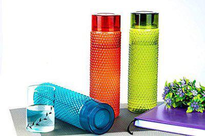 Skyzone Bubble Shape Designer Fridge Water Bottle for Home & Kitchen, School, College, Office Unbreakable Plastic Water Bottle - 1 L (Pack of 3)