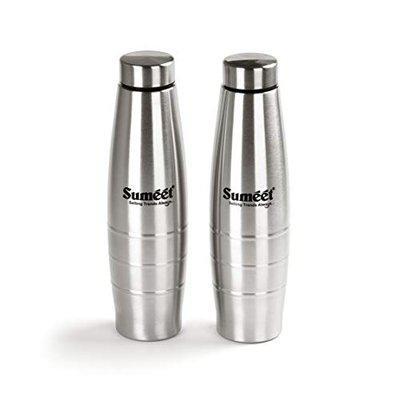 Sumeet Ovatus Stainless-Steel Leak-Proof Water Bottle / Fridge Bottle - 1000ML - (Set of 2)
