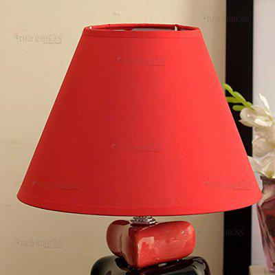 TIED RIBBONS Night Lampshade Cover For Bedside Table Lamp (14.2X20.5 Cm, Red)
