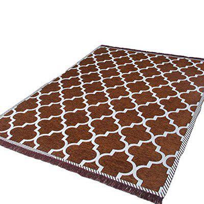 Stylish Trendy Geometric Design Chenille Carpet for Living Room & Bed Room(4X6 FEET) Pack of 1