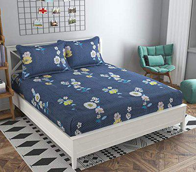 FRESH FROM LOOM Elastic Fitted Bedsheet Set Microfiber Cotton Double Bedsheet with Two Pillow Cover ( Blue, 7.5x7.5 Feet)