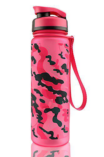 US1984 1000ml Large Tritan Water Bottle with Level Marker & Removable Strainer, Fast Flow BPA Free Non-Toxic for Fitness, Gym and Outdoor Sports (Army Pink Design)