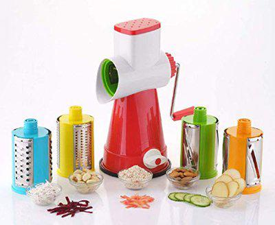 SPIRITUAL HOUSE Premium Plastic Rotary Grater, Shredder and Slicer for Kitchen, Manual 4 in 1 Rotary Cutter, Vegetable Choppers for Kitchen