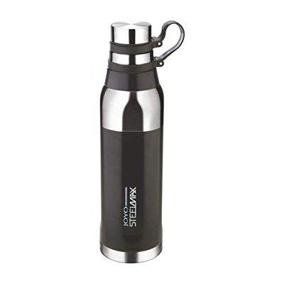 Joyo Steelmax Cool Grip Double Walled Hot and Cold Stainless Steel Insulated Water Bottle for Office, Gym, Travel, Hiking, Trekking (BPA Free, 750 ML) Black