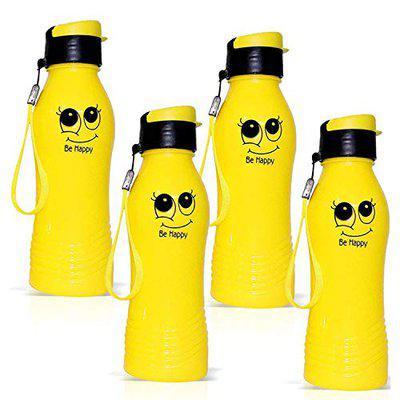 Portable Drinking Water Bottle for Office Sports School Kids Men Girls Women (Yellow) Pack of 4