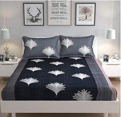 Double Bedsheet - Divine Homes Premium Microfiber Double Bed Sheet with 2 Large Size Pillow Covers; 90x90 inches; Black