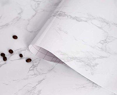 Delavala Thick Waterproof self-Adhesive Wallpaper Granite White/Gray Roll Removable Marble Paper Film Kitchen Wallpaper Delavala Countertop Cabinet Furniture Renovated Marble Contact Paper