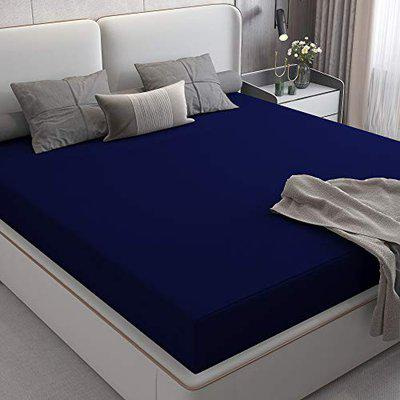 Lithara Cotts Wonder Stretchable Fabric Water Resistant Fitted Double Bed Queen Size Ultra Soft Mattress Protector with Elastic Strap 72x60(6x5 Feet), Blue