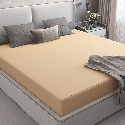 Lithara Cotts Wonder Stretchable Fabric Water Resistant Fitted Double Bed Queen Size Ultra Soft Mattress Protector with Elastic Strap 72x60(6x5 Feet), Beige