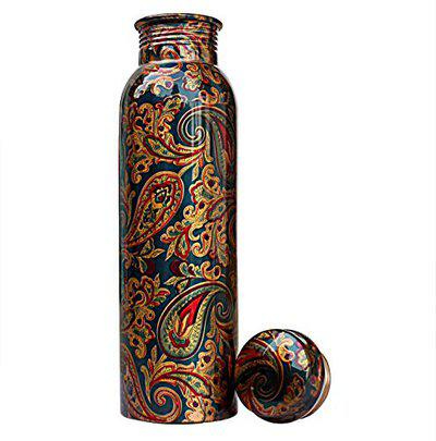 Kanha Sales Presents Printed Copper Water Bottle, 1L, Set of 1, Multicolour (Pack Of 3)