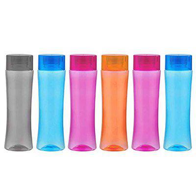 Mantavya Plastic Leak Proof Water bottle Portable Sports Climbing Hiking Direct Drinking Bottle (Set of 6)