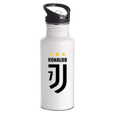 Gen7 Ronaldo Juventus Printed Bottle | Lightweight Sipper Bottle, 600 ml [White]