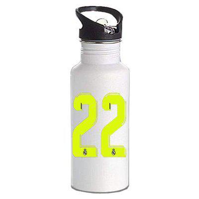 Gen7 Real Madrid Jersey Number Printed Bottle | Lightweight Sipper Bottle, 600 ml [White]