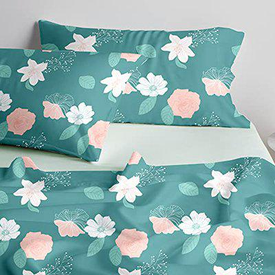 Blue Dahlia Cotton Printed Bedsheet for Single Bed, Printed Flat Sheet with 1 Pillow Covers, Oeko TEX Certified, Long Staple Cotton 220 TC Bedsheets Floral Blooms (Single, Green)