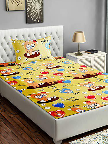 BSB HOME Glace Cotton 160 TC Kids Printed Single Bed Sheet with 1 King Size Pillow Covers (4X6 feet Bed, Yellow Teddy Fish)