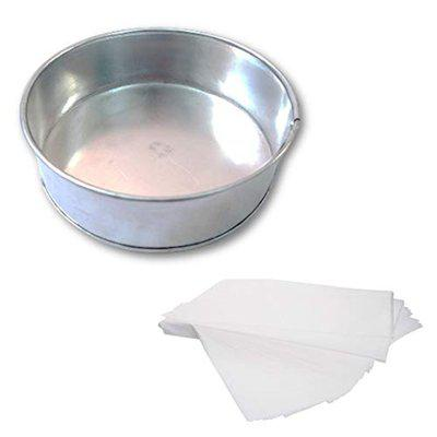 Amazin Glazin Aluminium Round Shape Cake Mould/ Cake pan for Microwave Oven (6x6x2 inches) Free Parchment Paper 10 Sheets
