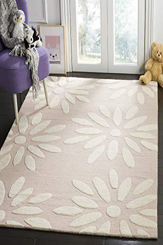 IMPERIAL KNOTS Pink and Ivory Kids Hand Tufted Carpet 4X6 FEET