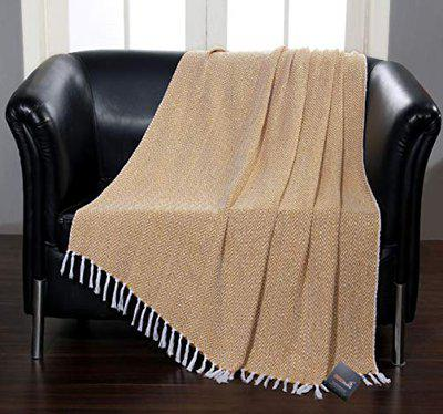BSB HOME 100 Cotton wooven Throw Blanket - Chevron Pattern for Bed, Patio, Sofa and Couch - 50x60 inches -Mustard and Yellow