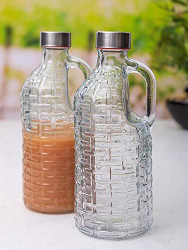 SkyKey Glass Bottles with Airtight Cap for Water, Juice Set of 1 pcs, Transparent
