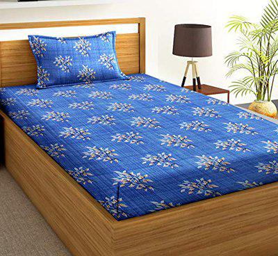 BSB HOME 120 GSM 100% Microfiber 144 TC Flower Printed Single Bedsheets with 1 King Size Pillow Cover, (60X90 Inches, 5 x 7 Feet, Blue and White)