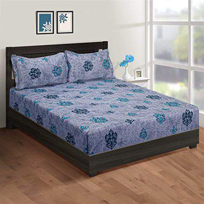 SWAYAM Zinnia,Mercerized 100% Cotton,210 TC,Floral,Extra Large Double Bedsheet with 2 Pillow Covers,Blue