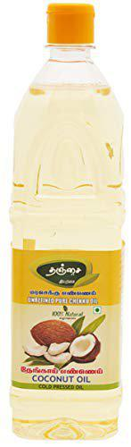 Thanjai Natural 4L Virgin Wooden Cold Pressed Coconut Oil 100% Pure Natural, (1000ml X 4)