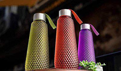 DADVA ENTERPRISE Hexa Shape Water Bottle with Stainless Steel Cap for School, College, Office 1000 ML Bottle (Pack of 3)