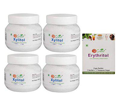 So Sweet 100% Sugar Free Natural Xylitol Powder Sweetener 200gm (Pack of 4) with Free Erythritol 30 Sachets