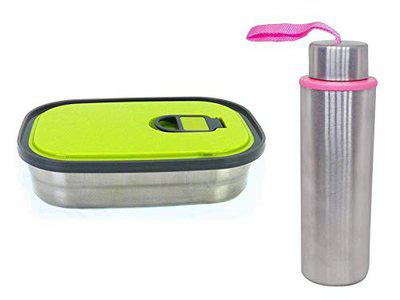 Pelo Water Bottle with Lunch Box for Boys Girls for Office School Use Multicolor