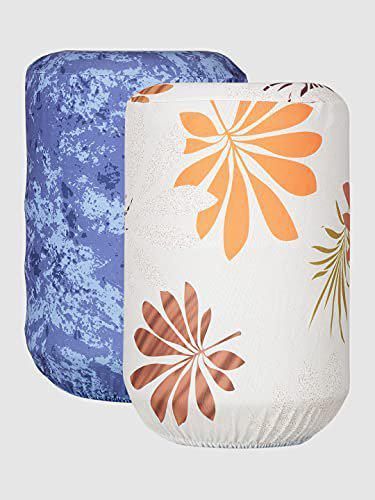 Cortina Printed Water Dispenser Bottle Cover : 20 ltr.Dimesions L*W*H: 45X42X43 Set Size : Two Pc (BeigeOrnge)