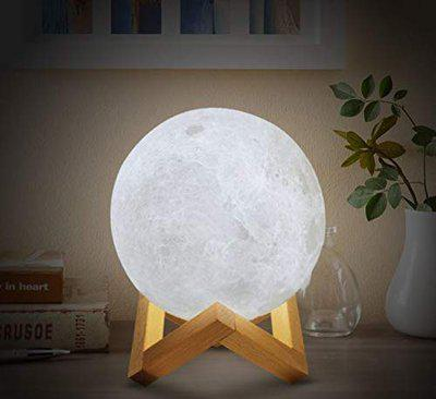 Alex 3D USB Rechargeable Moon Lamp Color Changing Sensor Touch Decoration Crystal Ball Night Lamp with Wooden Stand (15CM) (Multi)