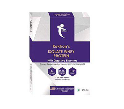 Rektron 100% Isolate Whey Protein - 2 lbs, 30 Serving Low Carb (American Ice Cream, 2)