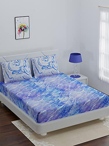 Bombay Dyeing Marbling 100% Cotton One King Size (274x274Cm) Bedsheet with 2 Pillow Covers Size (46x69Cm)