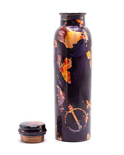 StatueStudio Copper Water Bottle Great for Home Yoga Gym 99.8% Copper, Multicolor 980 Ml
