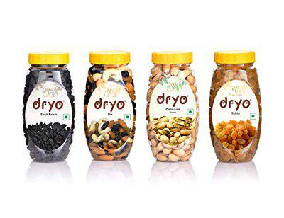 Dryo Premium Dry Fruit Combo Pack of Pistachio Golden Raisin Mix Nuts Black Raisin Dry Fruits and Nuts Combo Pack 920g (Pack of 4)