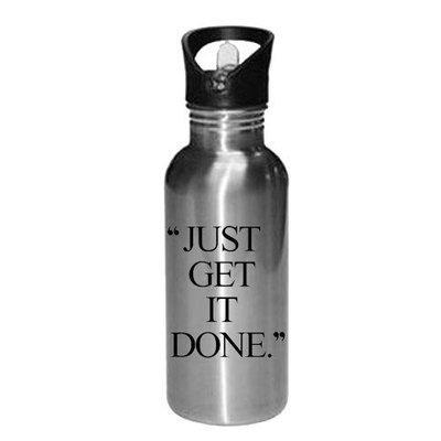 Gen7 Just Get It Done Printed Bottle  Gym Bottle  Sports Bottle Printed   Leak Proof, Straw Cap   Lightweight Sipper Bottle 600 ml [Silver]