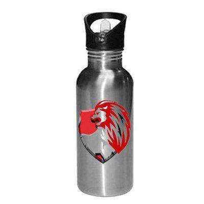 Gen7 Kings 11 Punjab Printed Bottle   Sports Bottle Printed   Leak Proof, Straw Cap   Lightweight Sipper Bottle 600 ml [Silver]