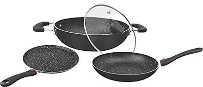 Warmeo NonStick Induction Friendly Cookware Set, Set of 3 (with Glass lid) Detachable Handle,Granite Finish.