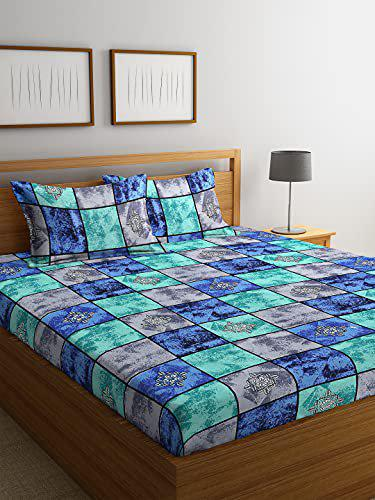 Fashion String 144 TC Microfibre Blue Double Bedsheet with 2 King Size Pillow Covers