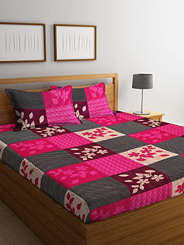 Fashion String 144 TC Microfibre Pink Double Bedsheet with 2 King Size Pillow Covers