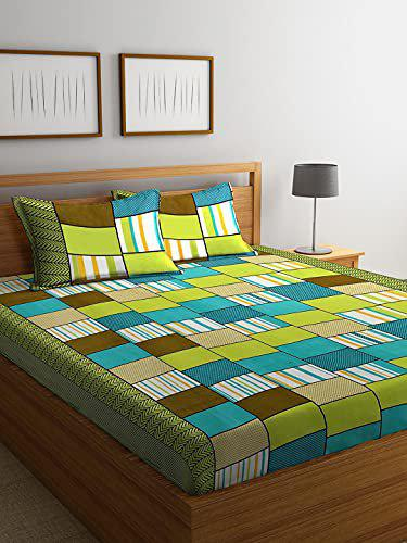 Fashion String 144 TC Microfibre Green Double Bedsheet with 2 King Size Pillow Covers