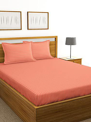 BIANCA 210Tc Satin-Strie 100% Cotton XL-King-Size Double Bedsheet with 2 Pillow Cover - Solid Dyed -3pc Set- (Hilton) Abstract-Salmon