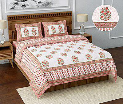 BS Exports Premium Jaipuri Floral Screen Printed King Size Bedsheet with 2 Zippered Pillow Covers for Home Bedroom(Peach1)