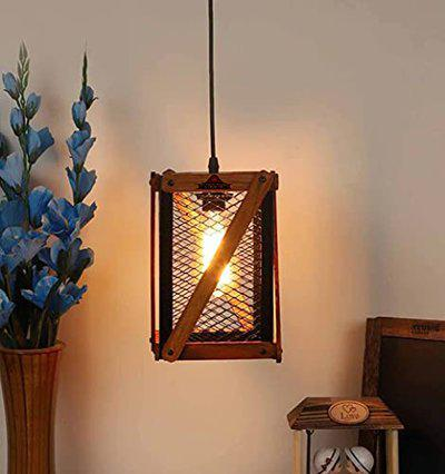 Improvhome Wooden Farmhouse Orb Chandelier,Vintage Pendant Light Handmade Wood Hanging Lighting Fixture Ceiling Lamp for Dining Room, Bedrooms, Living Rooms (with Bulb)