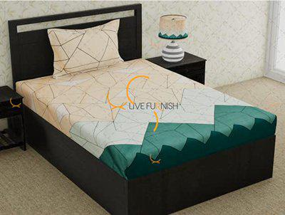 RRC Soft Microfiber Cotton Bedsheet with Pillow Cover Geometrical Pattern Bedsheet (Single)