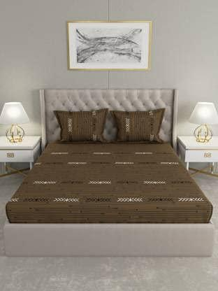 Raymond Home 104 TC 100 % Pure Cotton Double Bedsheet with Two Pillow Cover Brown Color