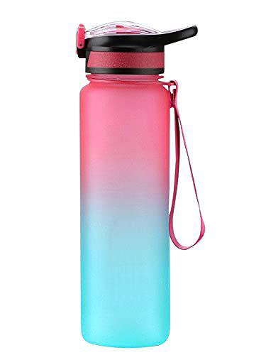 US1984 1 L Sports Water Bottles, Portable Wide Mouth Big Tritan Strong Water Bottle Leakproof Space Cup BPA Free Travel Mugs with Scale, Straw, Strap for Kids Adult Summer Outdoor Sports (Orange & Blue)