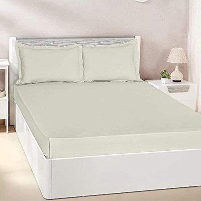 Pizuna Cotton 400 Thread Count Solid Natural Grey 100% Long Staple Cotton Satin King Size Bed Sheet with 2 Pillow Covers