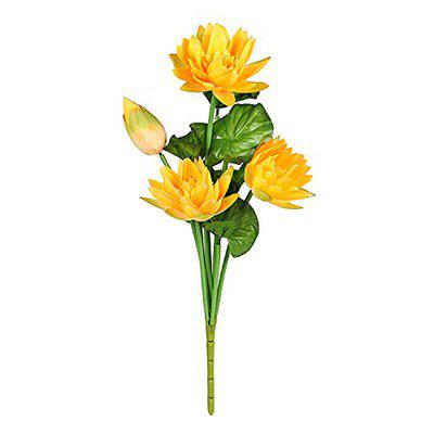 TIED RIBBONS Lotus Lily Flowers Artificial Bunch for Vase Pot (52 cm, Orange) Home Decor Item Living Room Centerpiece Corner Table Decorations (Pot Not Included)