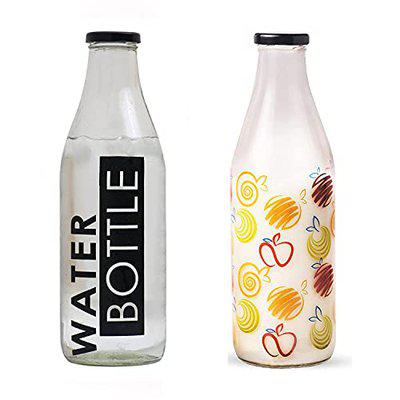 Bataniya Leak Proof 1000ml Each Printed Glass Bottle for Storing Milk, Water, Juice and Other Beverages with Metalic Cap 12-23